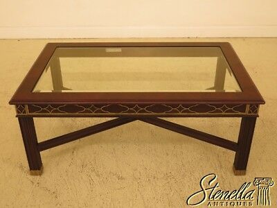 45587EC: HENKEL HARRIS Chippendale Mahogany Glass Top Coffee Table