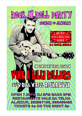 Art Print POSTER / CANVAS Rock 'N' Roll Wine-A-Billy Party Night Poster.