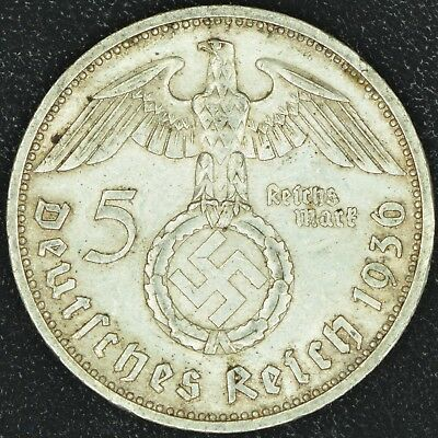 WW2 5 Mark 1936 E Hindenburg Germany Third Reich Nazi Reichsmark Silver 4