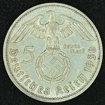 WW2 5 Mark 1936 G Hindenburg Germany Third Reich Nazi Reichsmark Silver 3