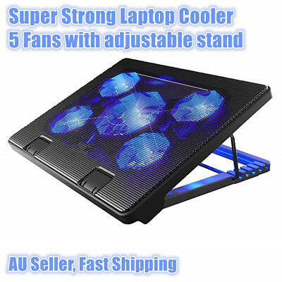 Laptop Cooler Pad 5 Quiet Fans Blue LED with 2 USB Ports Adjustable stand level