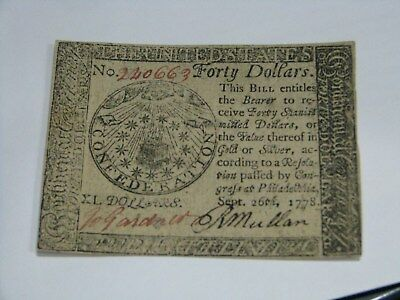 US Continental Colonial Currency $40 Dollar September 26 1778 Banknote Original