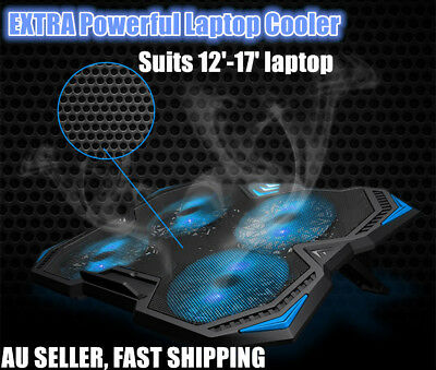 "Laptop Gaming Cooler Pad 4 Extra Big Powerful Fans with stand LED lights 12""-17"""