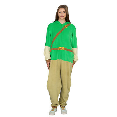Adult Zip up The Legend of Zelda Link Green Costume Pajamas Jumpsuit