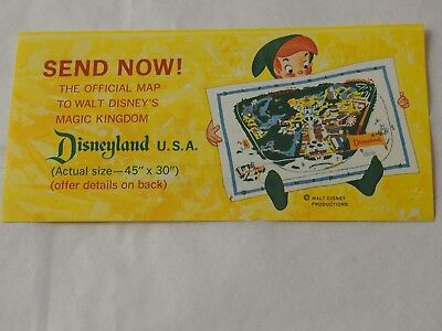 "Original SUNKIST send Now Coupon offer for 45"" x 30""  Disneyland map 1963"