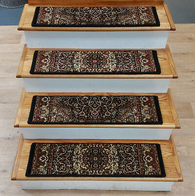 RUG DEPOT 13 Traditional Non Slip Carpet Stair Treads 31 X 9 Black Stair Rugs