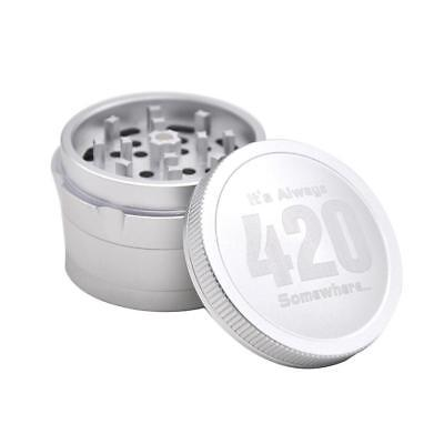 4 Piece Magnetic 2.5inch Sliver Tobacco Herb Grinder Spice Aluminum with Scoop