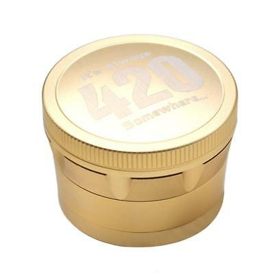 4 Piece Magnetic 2.5inch Golden Tobacco Herb Grinder Spice Aluminum with Scoop