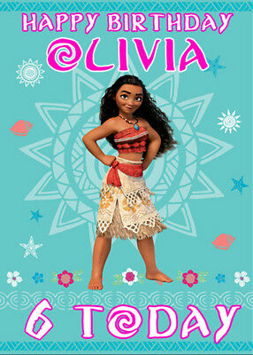 DISNEY MOANA - Personalised Birthday Card - Add your own name & age