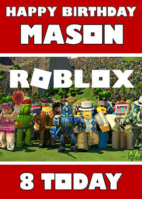 ROBLOX - Personalised Birthday Card - Add your own name & age