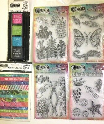 Lot 6pk Bundle Dylusions Clear Stamps Ink Pads Washi Tape Sheets Mixed New Set
