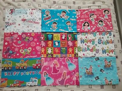 Kids Girl Boy Birthday Gift Wrapping Paper Good Quality Glossy 2 Sheets Tag