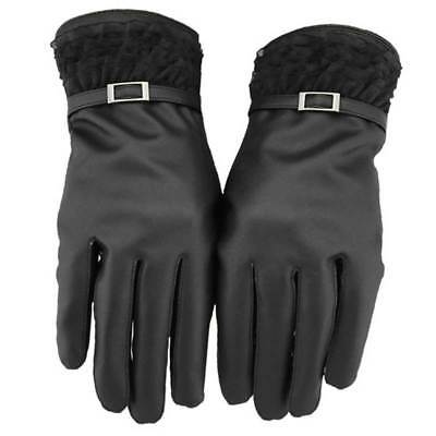 Womens Leather Thermal Waterproof Touch Screen Lace Driving Warm Gloves Black