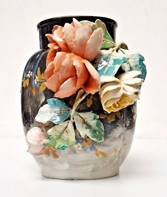19th Century French Faience Barbotine Majolica Floral Vase by Edouard Gilles