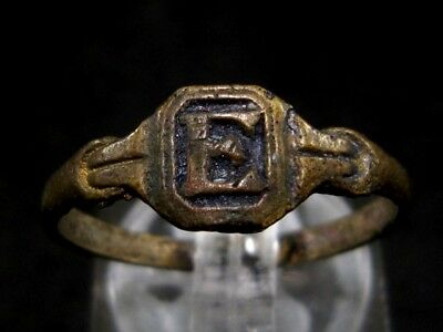 CHOICE WEDDING ANTIQUE BRONZE RING  FROM 19th.–20th. CENTURY, *E* Letter|!!!