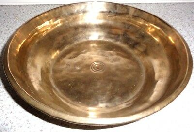 LARGE HAND BEATEN ANTIQUE RELIGIOUS BRASS/COPPER/BRONZE BOWL 8.1 inches wide
