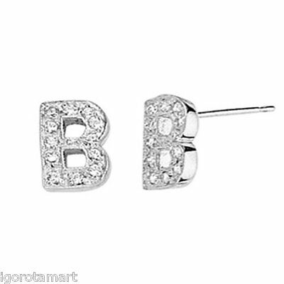 Letter B Studs Princess Cut CZ Crystal Earring Silver Ear Stud Pair UK POst