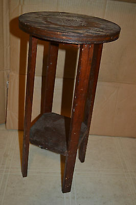 Vtg Antique distressed Wood Miniature Plant Stand Folk Art