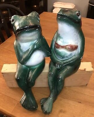 Vintage Concrete Lawn Garden Art Chippy Whimsical Green Frogs Couple CUTE