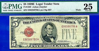 *Rare 1928-E $5 US Note (( Mule )) PMG very-Fine 25 # G96588796A