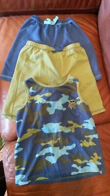 Camouflage Blue and Green Sleeveless Top 2 pairs of Shorts Pajama's 7/8
