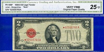 *Rare 1928-D $2 US Note (( STAR )) *** MULE *** Very Fine # *02505765A