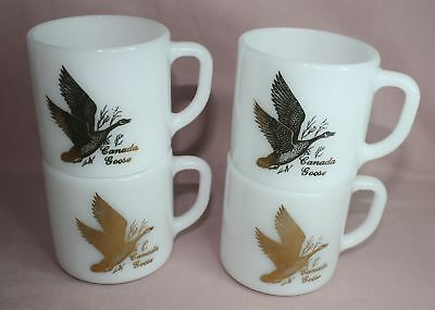 Federal Glass  Cups / Mugs 1960'S Heat Proof- Canada Goose  Lot Of 4