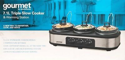 Gourmet by Sensiohome 7.1L Triple Slow Cooker/ Buffet Server Warming Station