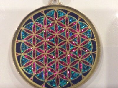 "$72 Flower Of Life Necklace 1 5/8"" Pendant Lapis Lazuli Gemstone Sterling Silver"
