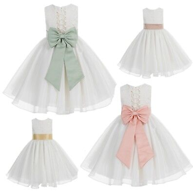 Ivory Flower Girl Dress Wedding Pageant Dress Baptism Dresses Communion Dresses