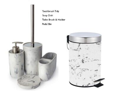 White Grey 5 Piece Marble Effect Bathroom Accessory Set Modern New