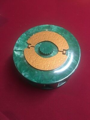 Vintage TURNIT MFG CO. Green Marbelized Bakelite Poker Chip Caddy With Chips