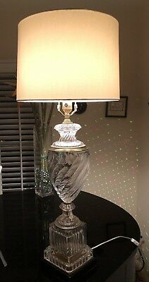 Vintage Glass Baccarat Style Lamp From Mid 1900'S