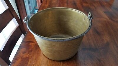 Antique 1800's Hand Hammered Brass Bucket Pail Pot Hand Forged Steel Iron Handle