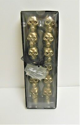 Bella Lux Halloween Stacked Skulls Set of 2 Taper Pewter Candles New in Package