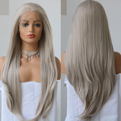 "AU 24"" GlueLess Lace Front Wig Light Grey Heat Safe Fiber Hair Straight Women"