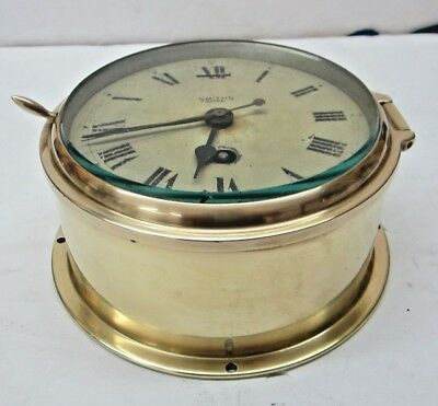 Maritime Antique Brass Ship Clock By Smith Astral Winding key included England