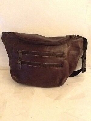 Vintage Unisex 4  Zipper Brown Leather Fanny Pack Waist Bag