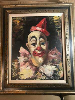 "Large Hosendyk ""Portrait Of A Clown"" Oil Painting #1 - Signed And Framed"