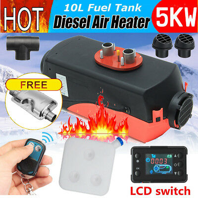5KW 12V Diesel Air Heater 10L Tank LCD Switch Remote Silencer Truck Boat Trailer