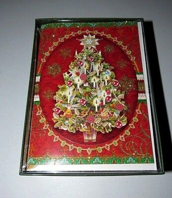punch studio red glitter die cut christmas tree 12 count christmas cards