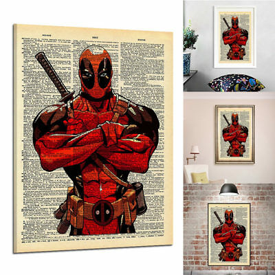 Newspaper Style Deadpool Canvas Print Wall Art Oil Painting Picture Home Decor