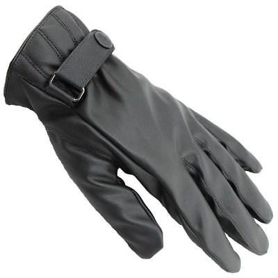 Mens Adjustable Leather Texting Thermal Touch Screen Touching Driving Gloves