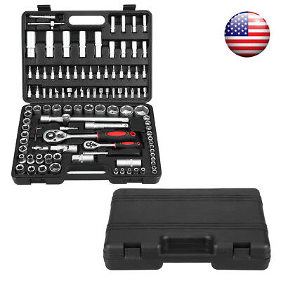 108pcs Repair Tool Set Ratchet Wrench Socket Combination Hand Tools w/ Case Box