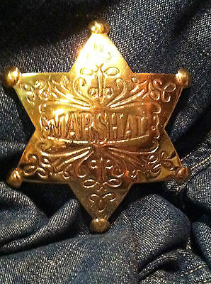 Solid Brass Old West  Badge 'Marshal'  - western * cowboy * novelty