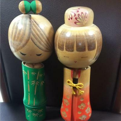 Kokeshi Japanese traditional craft cute rare popular 2 girls retro beauty F / S!