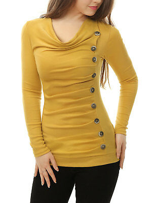 Women Cowl Neck Long Sleeves Buttons Decor Ruched Top