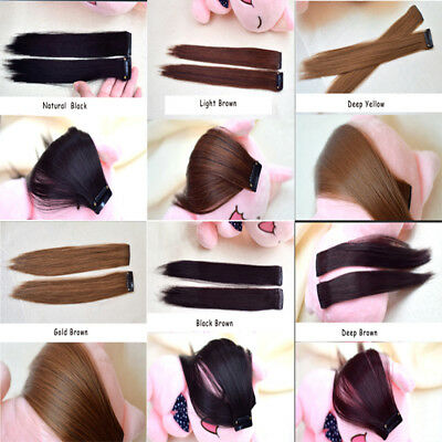 2PCS Side Bang Clip in Fringe Natural Hair Extension Front Neat Bangs Hairpiece