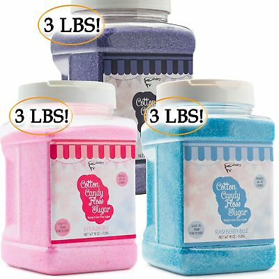 The Candery Cotton Candy Floss Sugar 3-Pack (Strawberry, Raspberry Blue and