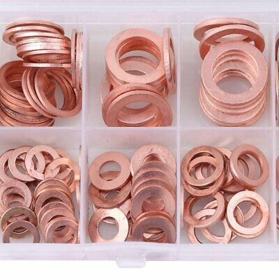 200PCS Assorted Solid Brass Crush Washers Seal Flat Ring Kit M 5 6 8 10 12 14